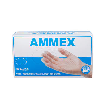 AMMEX Clear Vinyl Exam Latex Free Disposable Gloves